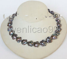 18mm Baroque black Reborn Keshi flower pearls necklace silver clasp