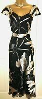 New Jacques Vert Dress 14 Silk devore Lilly Black Silver Ivory Retro rrp £149
