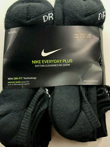 NIKE Everyday Plus Cotton Cushioned/No Show/ Black /Men's 8-12/ Wmn 10-13 / 6 Pk