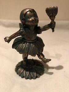 Flower Fairy  Bronze Effect Resin Indoor or Outdoor Ornament