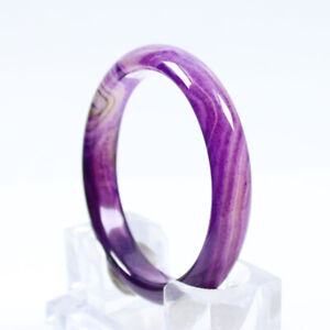 66mm Certified Grade Natural Agate Chalcedony Purple Jade Bracelet Bangle a3339