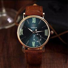 Men's Fashion Date Leather Strap Band Analog Quartz Noctilucent Wrist Watch Gift