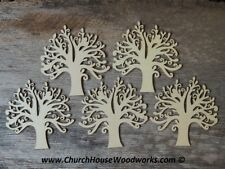 5 qty 5 inch Wood Tree Shapes - Set DIY Craft Idea- Wooden Craft Supplies Trees