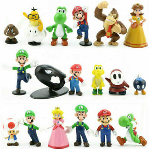 18Pcs Super Mario Bros Figure Toy Cute Doll Pvc Collectors Kids Gift Cake Topper
