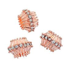 Clear Rhinestone Rose Gold Fluted Bicone Large 5mm Hole European Charm Beads 2pc