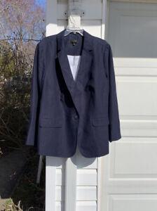 Warm Weather Workhorse! NWT Talbots Pretty Navy Linen Lined Blazer 18W 2X