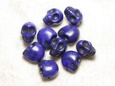 10pc - Perles Crâne Tête de Mort 12mm Bleu  4558550034885
