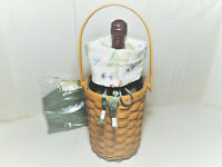 LONGABERGER 2005 Beverage Tote Basket Combo with 2 Fabric Liners Protector EUC