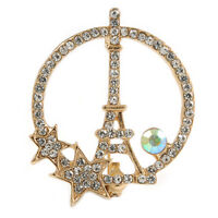 Gold Tone Clear/ AB Crystal Eiffel Tower and Stars Brooch - 40mm Tall