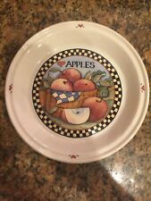 "Vintage 1992-1996 Susan Winget Ceramic 10"" Apples In Basket Pie Plate"