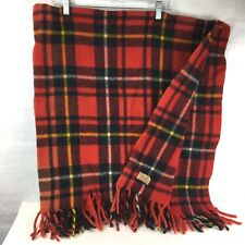 Faribo Vintage Plaid Blanket Red wool Repaired faribault 48x48 fringed tailgate
