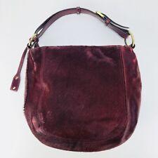 Abro Womens Hand Bag Ox Blood Cowhide Leather Dark Red Fur Hobo Purse