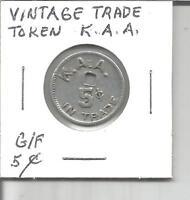(I) Vintage USA Trade Token G/F 5 Cents K.A.A.