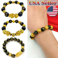 Black Obsidian Feng Shui Pixiu Bracelet Alloy Wealth Natural Stone USA Stock Hot