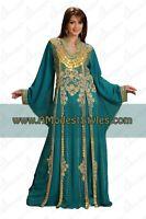 DUBAI ABAYA FANCY KAFTAN Hijab Muslim Islamic Wedding Dress *USA SELLER* MD0524
