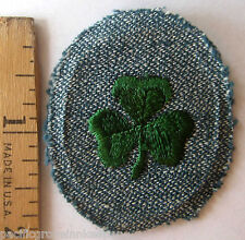 Girl Scout 1947 2nd SECOND CLASS BADGE Patch Silver Green Clover Award WHITE BCK