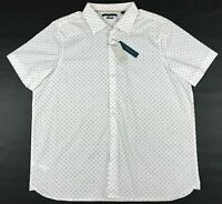 Men's Perry Ellis Dress Shirt Size Big and Tall 2X White Stretch Button Front SS