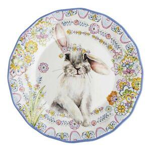Easter Bunny Rabbit Spring Floral Melamine Dinner Plates Set of 4