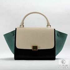 $2700 AUTHENTIC CELINE TRAPEZE Tricolor Small Black Green Cream Luggage Tote Bag