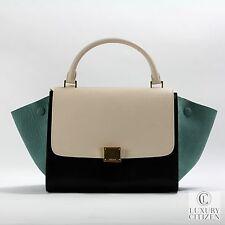 $2700 AUTHENTIC CELINE TRAPEZE Tricolor Small Black Green Cream Luggage Tote Bag