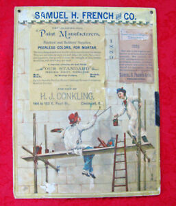 1889 Samuel H. French & Co Paint Mfg Advertising Store Display Sign + Watercolor