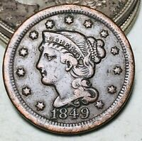 1849 Large Cent Matron Braided Hair 1C Higher Grade Choice US Copper Coin CC6640