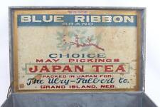 Rare Antique Blue Ribbon Tea Japan Tea Ulry Talbert Tin Lined Wooden Box