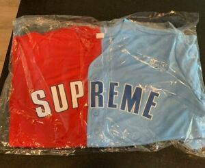 """Supreme SS21 Week 1 """"Don't Hate"""" Baseball Jersey Size XL Red Blue In Hand"""