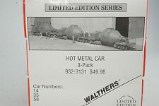 HO Scale Walthers Kit 932-3131 Steel Mill Hot Metal Car 3-Pk #14 #35 #58 SEALED