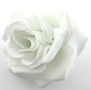 "3.5"" White Satin Silk  Rose Silk Flower Hair Clip, Wedding, Prom, Dance,"
