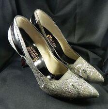 Vintage 50s Abstract Silver Metallic Grey Tweed Ladies Stiletto Heel Shoes 8 N