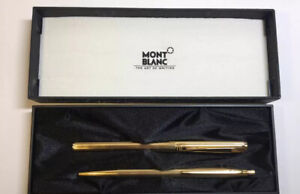 Montblanc Noblesse Slim Line Gold Plated Fountain Pen & Roller Ball Pen Case