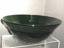 "VINTAGE CLEAR GLASS EMERALD GREEN SERVING/SALAD BOWL W/UPPER RINGS ** 10 1/4"" X"