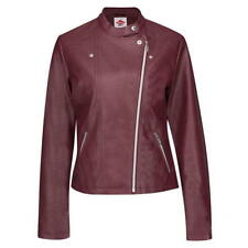 Lee Cooper PU Biker Jacket Womens Full Zip Ladies Burgundy Size 8 XS *REF34