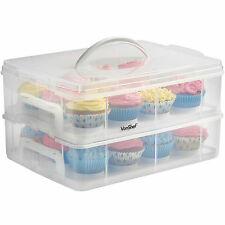 VonShef Cake Carrier Storage Cupcake 24 Snap and Stack Case Muffins Pastries