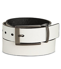 $85 ALFANI Men's WHITE BLACK STRAP FAUX LEATHER REVERSIBLE BUCKLE BELT SIZE 32