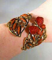 Butterfly Amber Copper Bronze Tone BOHO Clamper Bracelet Statement Rhinestones