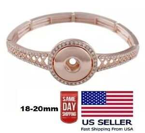Snap Jewelry Stretch Bracelet Rose Gold Lattice Fits 18-20mm Ginger Snaps Charm