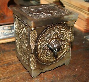 Antique J & E Stevens Nickel Plated Cast Iron Key Combination Safe Bank No. 40