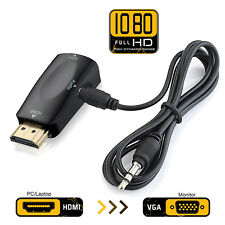 HDMI Male To VGA Female Converter Box Adapter With 3.5mm Audio Cable For PC HDTV