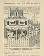 ANTIQUE MEDIEVAL FARMERS ANIMAL SHELTER KENNEL HAY BARN DOG HOUSE OLD ART PRINT
