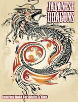 Japanese Dragons Colouring Book For Adults & Kids Brand New 9781502408884