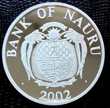 2002 Nauru Coin $10  Whales  The Whales Silver Proof w/ Mother of Peal