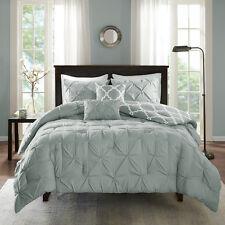 Chic Design Aqua Grey Tufted Fretwork reversible Comforter 5 pcs Cal King Queen
