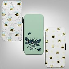 Bee Bumblebee Pattern WALLET FLIP PHONE CASE COVER for IPHONE SAMSUNG HUAWEI