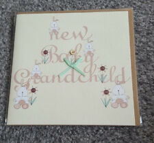 New BABY GRANDCHILD Greeting Card- Bunny/Bow- New Grandparents- Cream