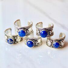 Tibetan Silver Blue Gemstone Quartz Crystal Amulet Inlaid Ring. Boho Jewellery