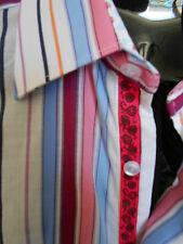 XMI Mens LS  Shirt Multi Color Stripe Reverse Cuffs Designer Sharp NWT $125 Med