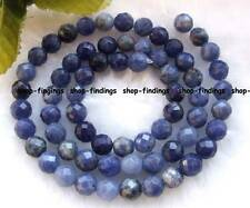 "6mm blue natural sodalite faceted round gemstone Beads 15"" high quality"