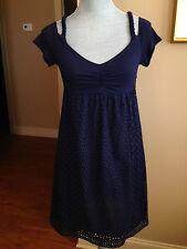 Cynthia Steffe New Dress Size 4 Navy blue eyelet Empire Waist Rayon D3